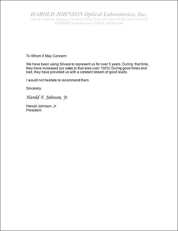 harold johnson optical letter of recommendation